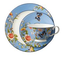 Aynsley Cottage garden blue teacup, saucer and plate