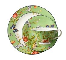 Aynsley Cottage garden green teacup, saucer and plate