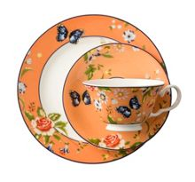 Aynsley Cottage garden orange teacup, saucer and plate
