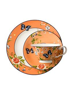 Cottage garden orange teacup, saucer and plate