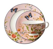 Aynsley Cottage garden pink teacup, saucer and plate