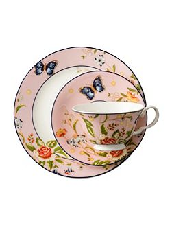 Cottage garden pink teacup, saucer and plate