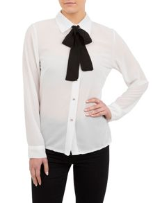 White Shirt With Contrast Necktie