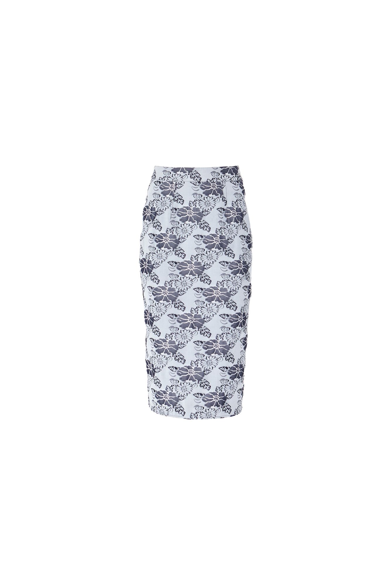 MAIOCCI Collection MAIOCCI Collection Form Fitting Floral Skirt, Grey