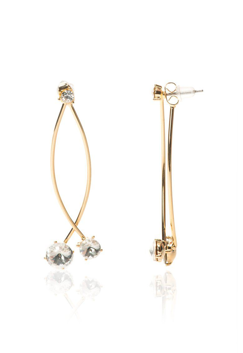 MAIOCCI Collection MAIOCCI Collection Gold crossover earrings, Clear