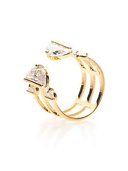 Gold tri-line ring