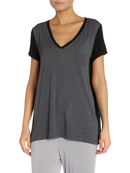 DKNY Contrast Sleeve and Side T-Shirt