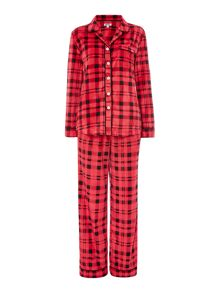 DKNY Fleece Check PJ Set