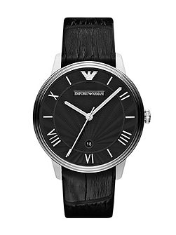 AR1611 Classic Black Leather Mens Watch