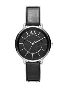 AX5303 Smart Black Leather Ladies Watch