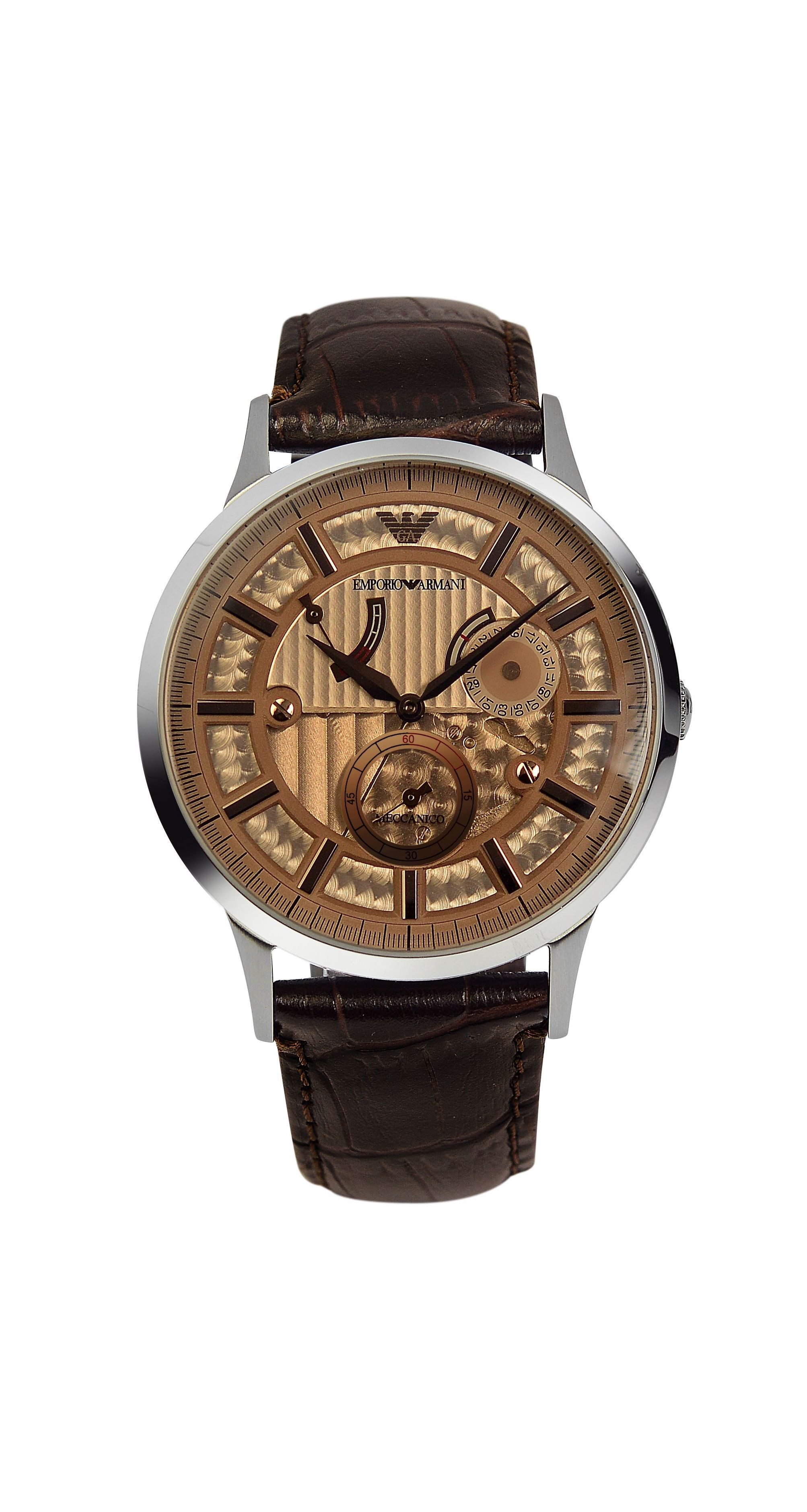 AR4660 Meccanico Brown Leather Mens Watch