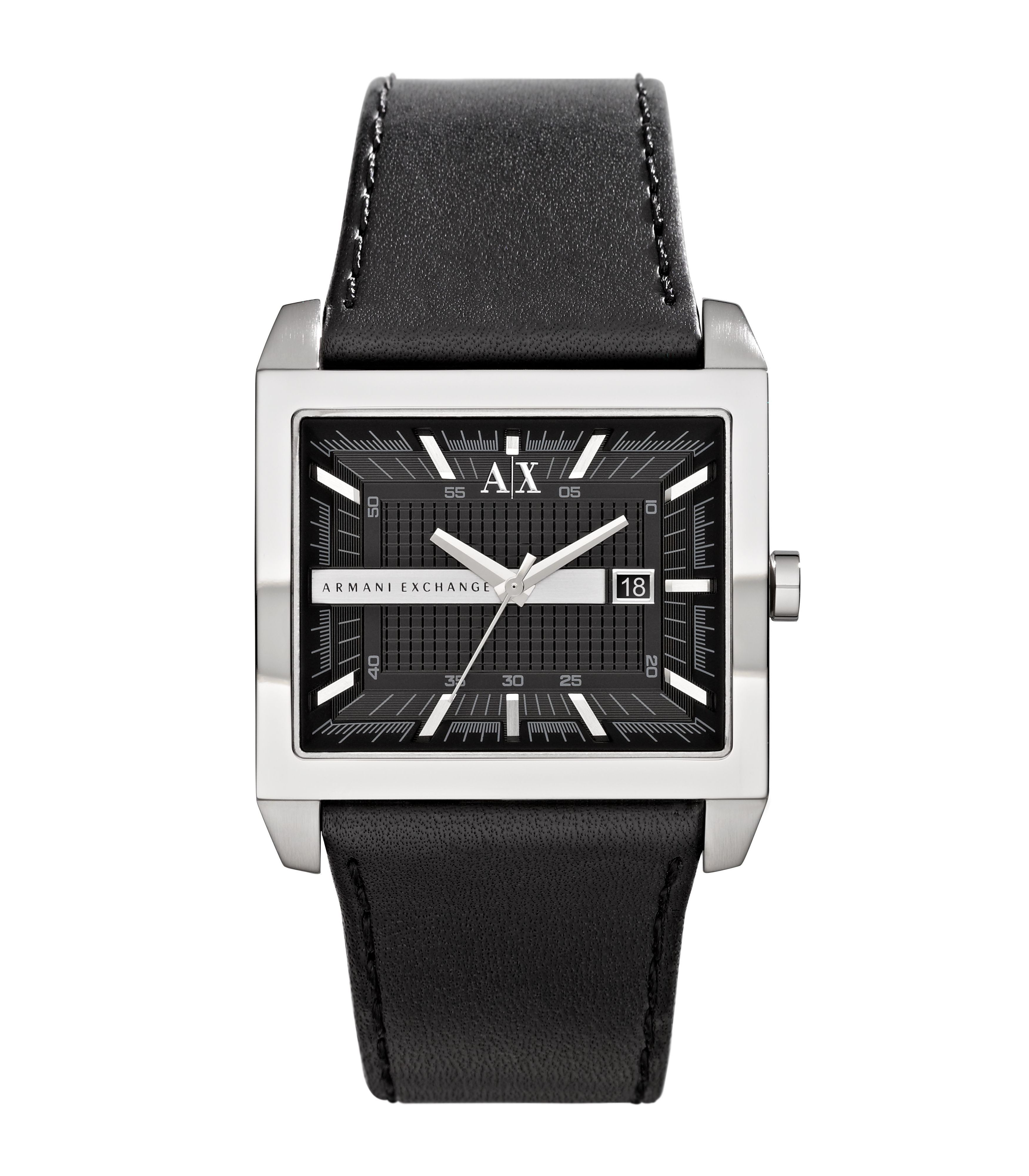 AX2203 Smart black leather mens watch