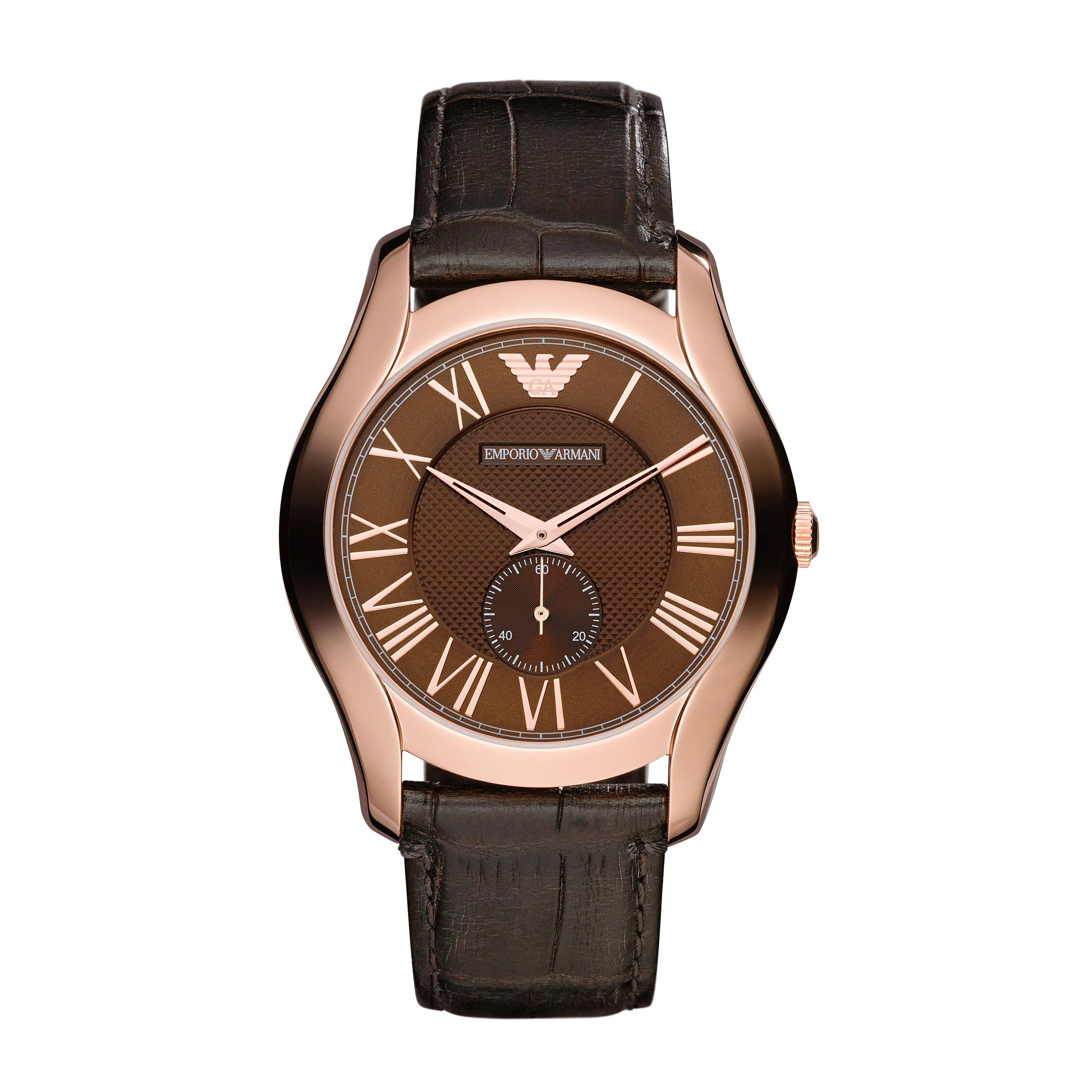 AR1705 Classic brown mens leather strap watch