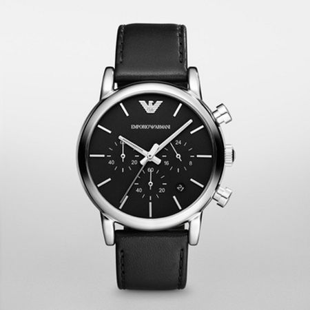 Emporio Armani AR1733 Classic Black Leather Mens Watch