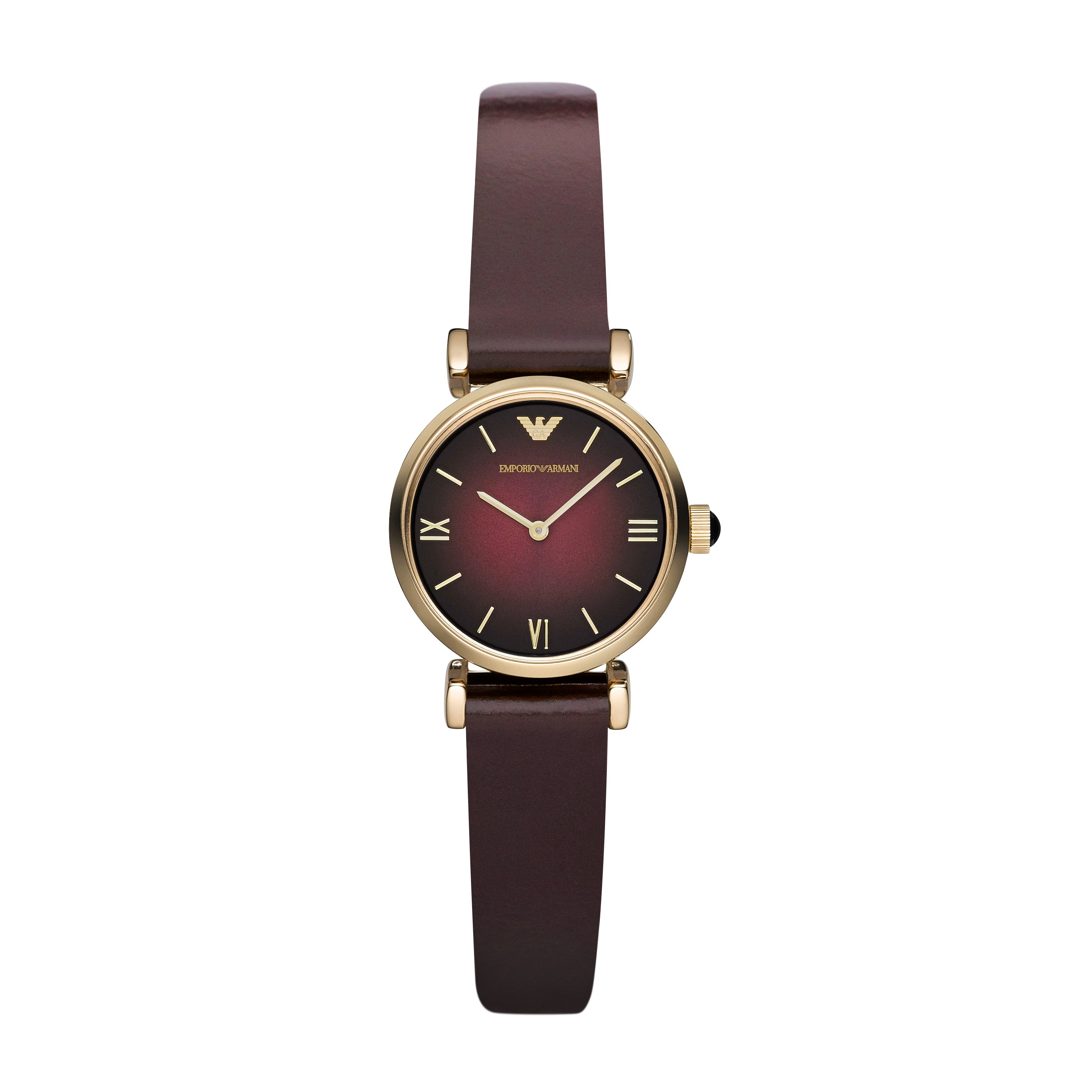 AR1758 RETRO bordeau leather ladies watch