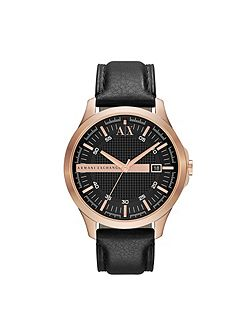 AX2129 SMART black leather mens watch