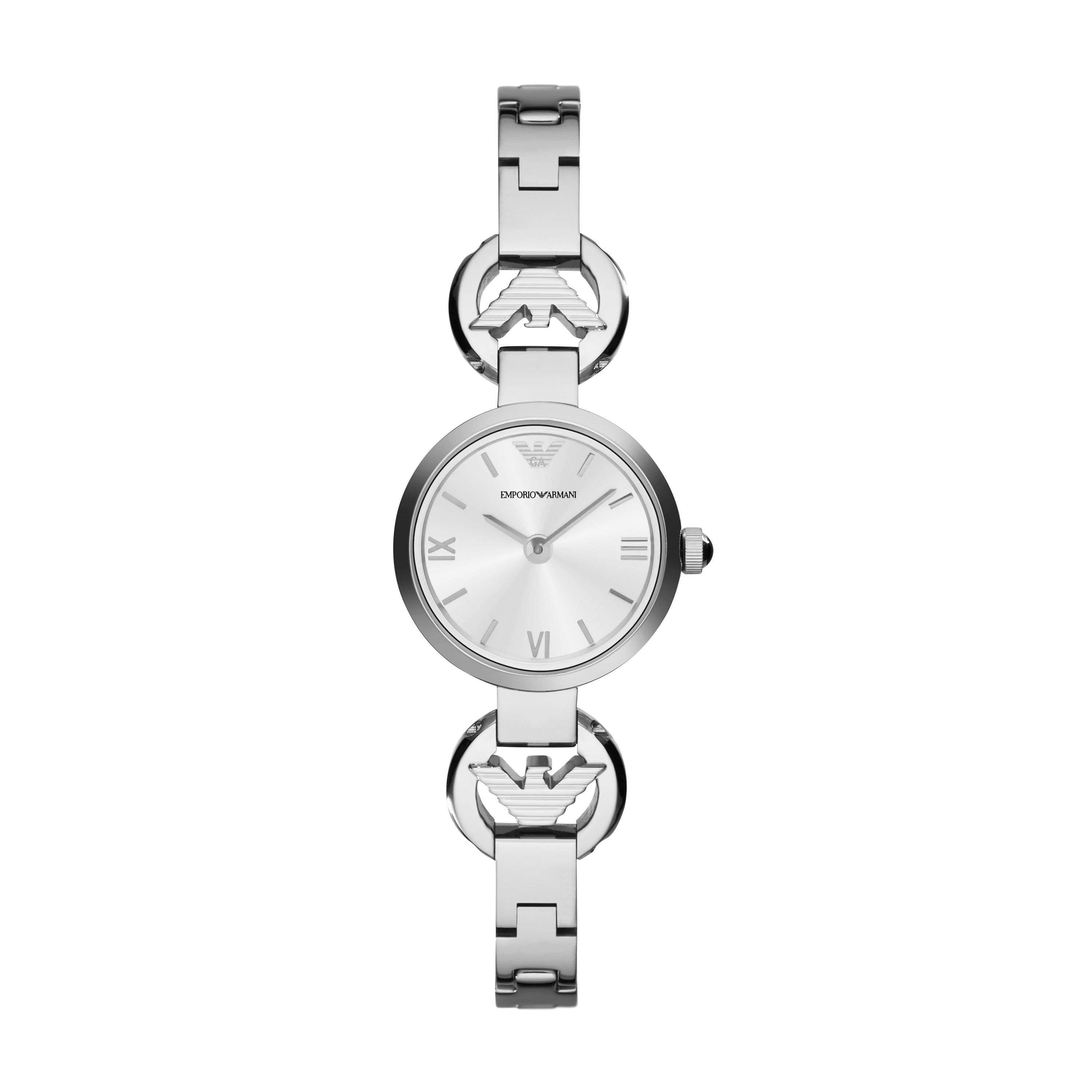 AR1775 Retro silver mens leather watch
