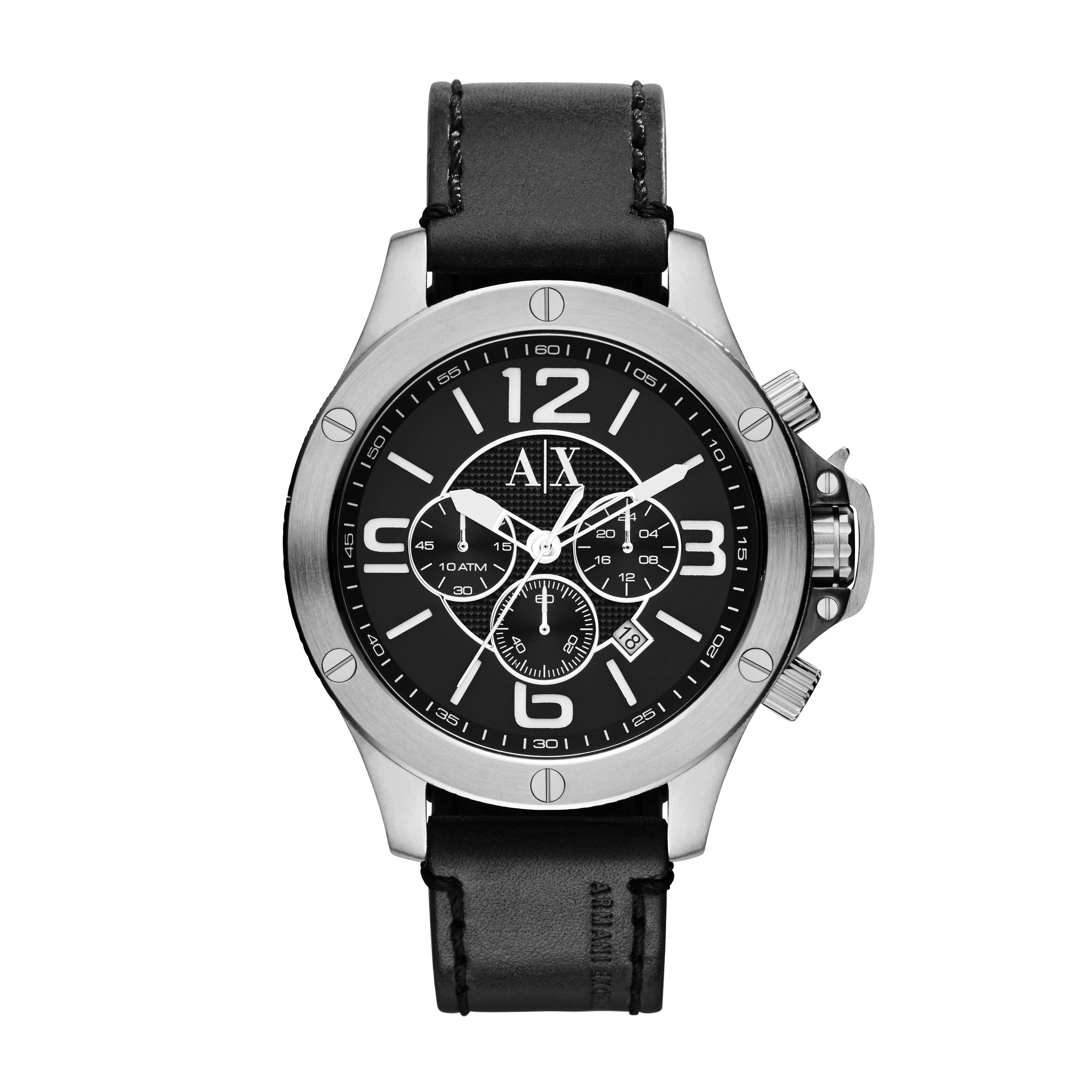 AX1506 STREET black leather mens watch