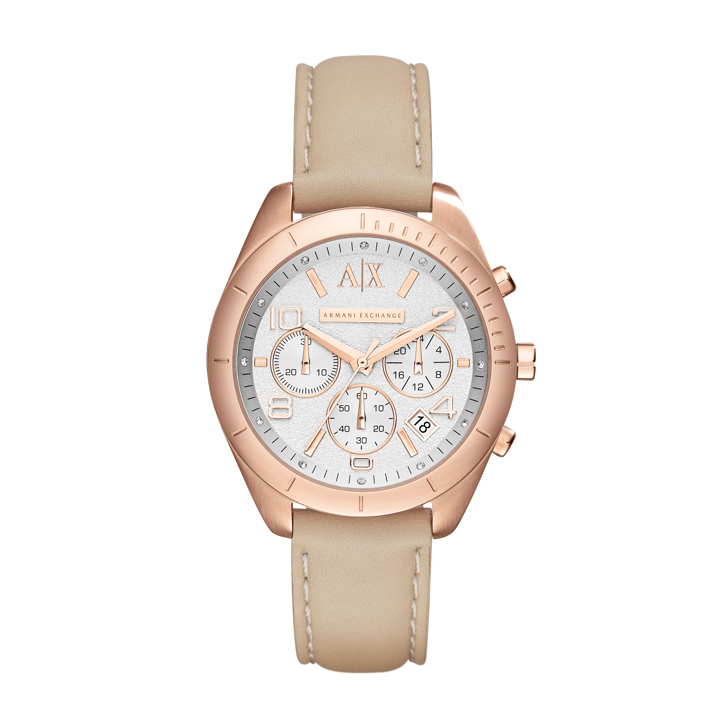 AX5504 ACTIVE beige leather ladies watch