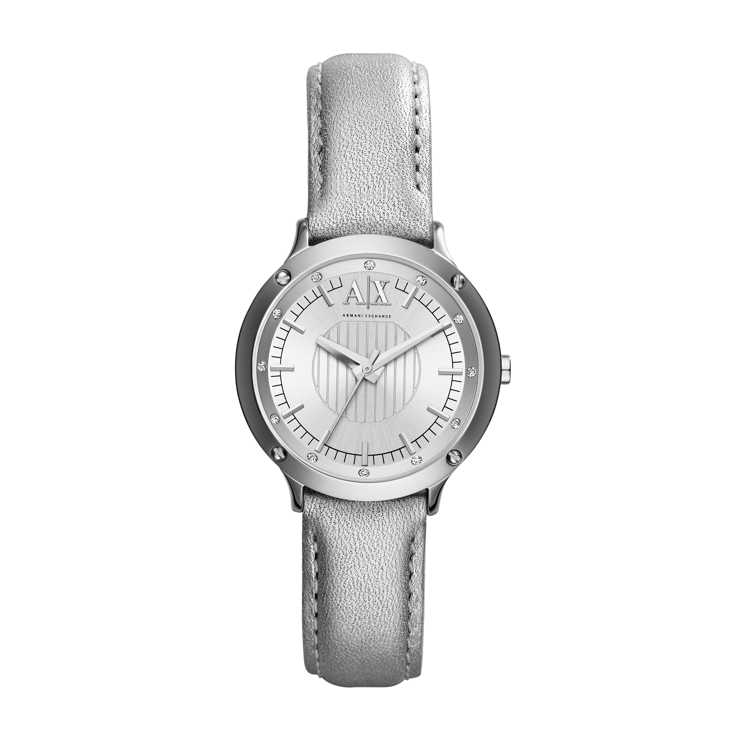 AX5420 Active Ladies Silver Leather Strap Watch