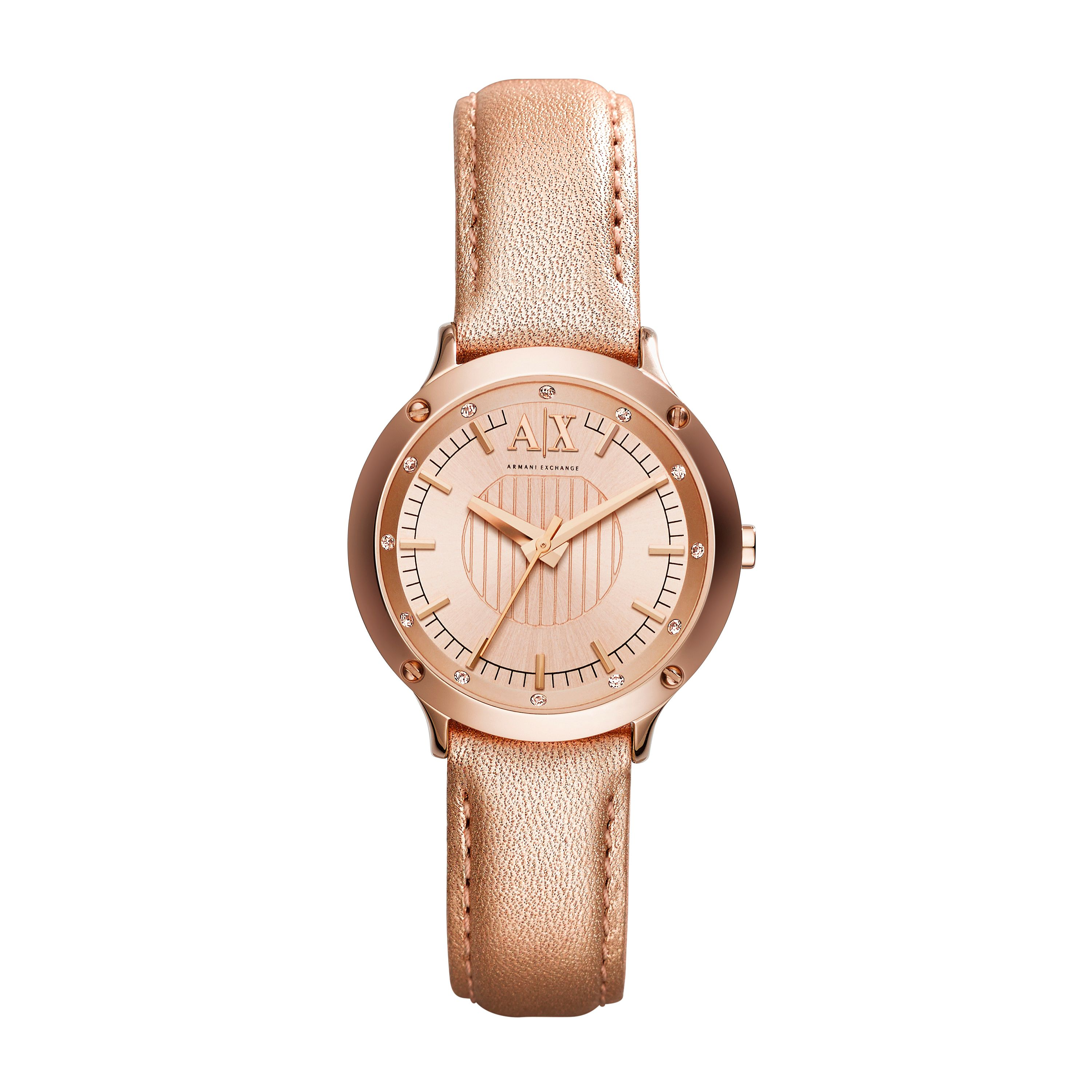 AX5421 Active Ladies Rose Gold Leather Strap Watc