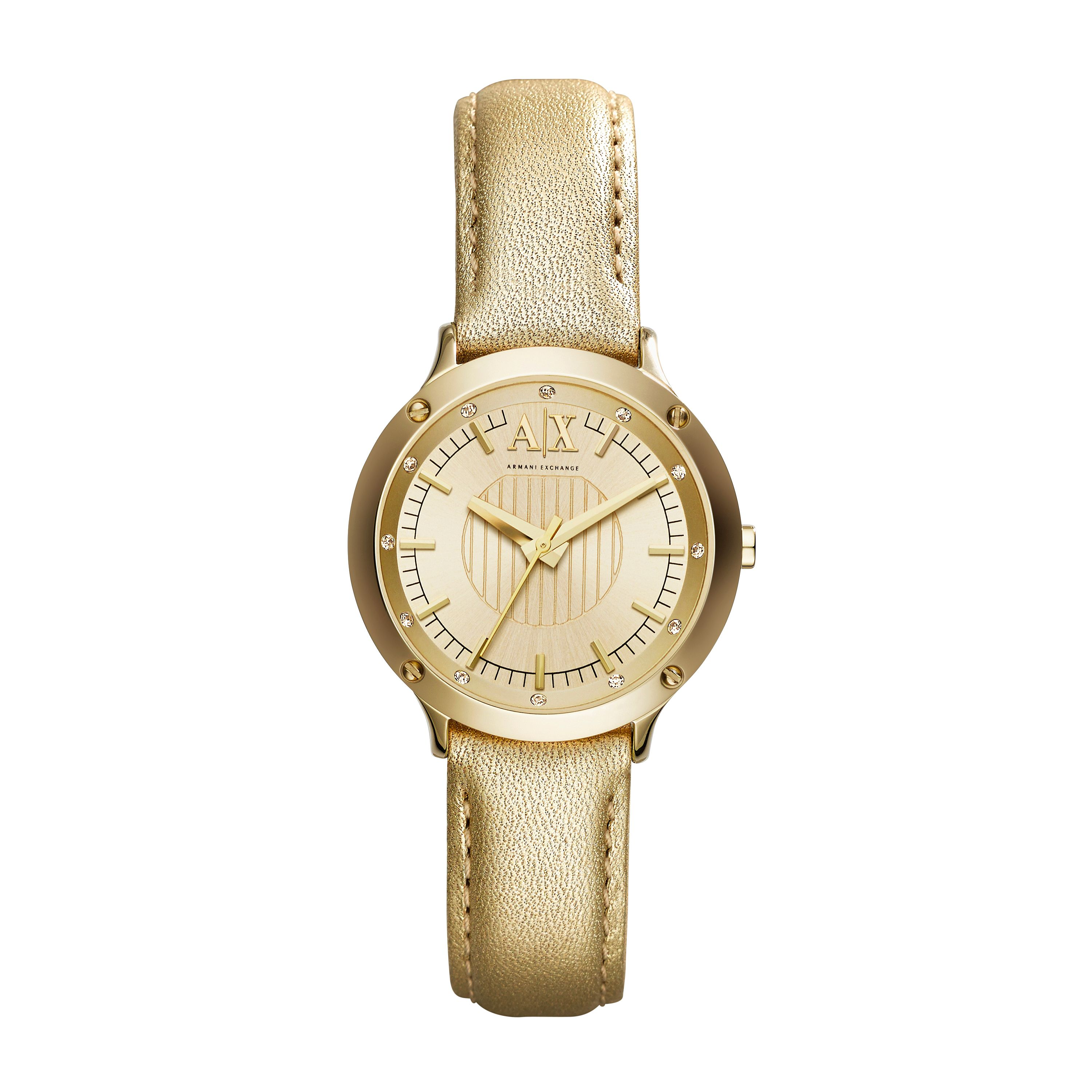 AX5422 Active Ladies Gold Leather Strap Watch