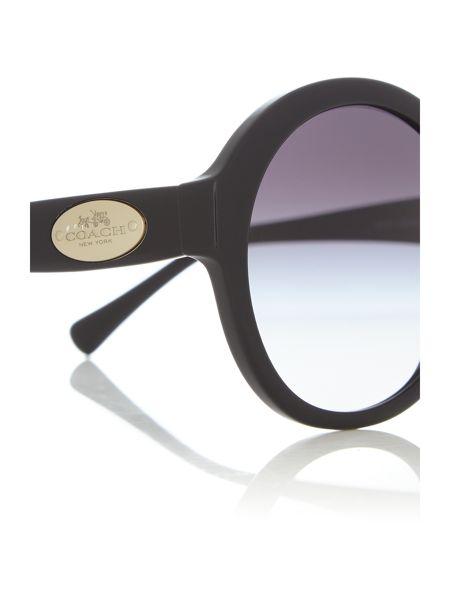 Coach HC8149 female black round sunglasses