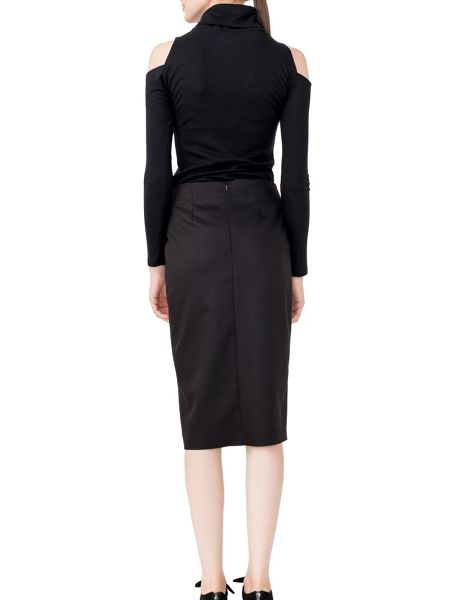 MAIOCCI Collection Funnel Neck Blouse with Cut-Out Shoulders