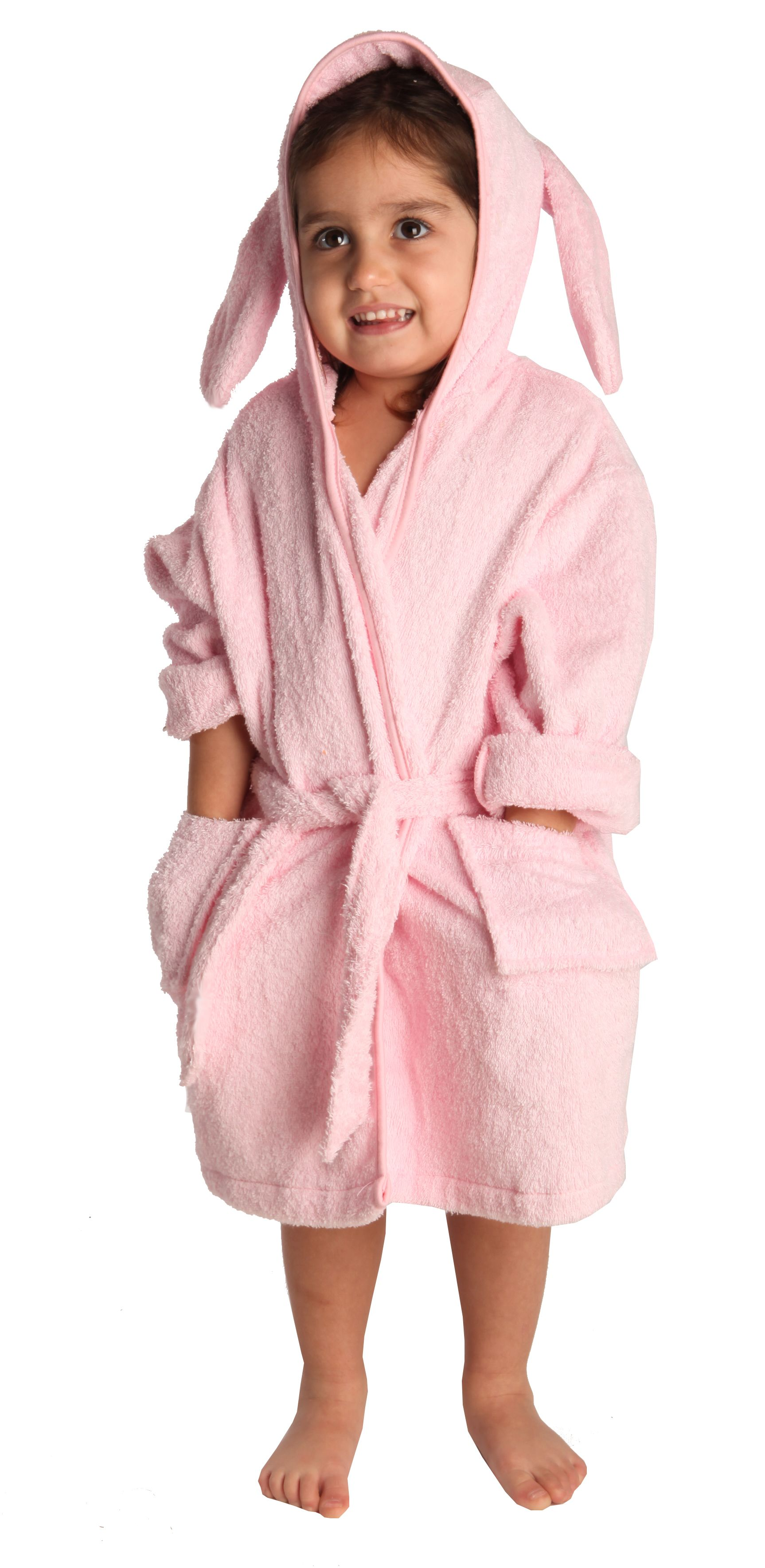 Cuddly bath robe with animal hood