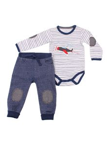 Baby boys bodysuit and trouser set