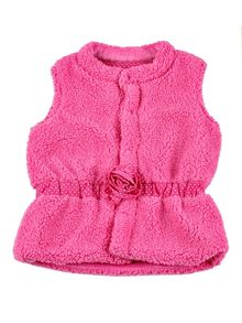 Minene Girls thick fleecey gilet with rosette