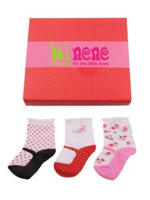 Minene Girls newborn baby sock box