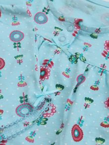 Girls short pyjamas- aqua flowers