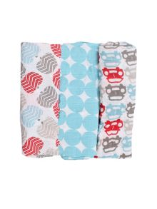Minene Boys 3 Pack Of Soft Cotton Mulin