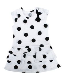 Minene Girls Black Polka Dot Dress