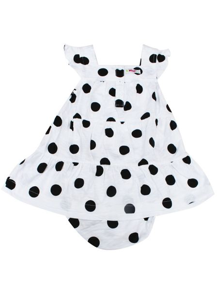 Minene Girls Black Polka Dot Dress with Bloomer