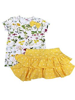 Girls Floral Yellow T-shirt and Skirt