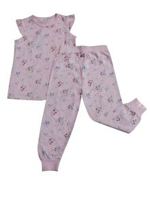 Minene Girls Pink Floral Summer Pyjamas