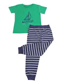 Minene Boys Green Boat Summer Pyjamas