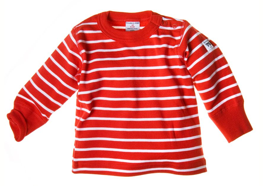 Long-sleeved stripe snugfit top