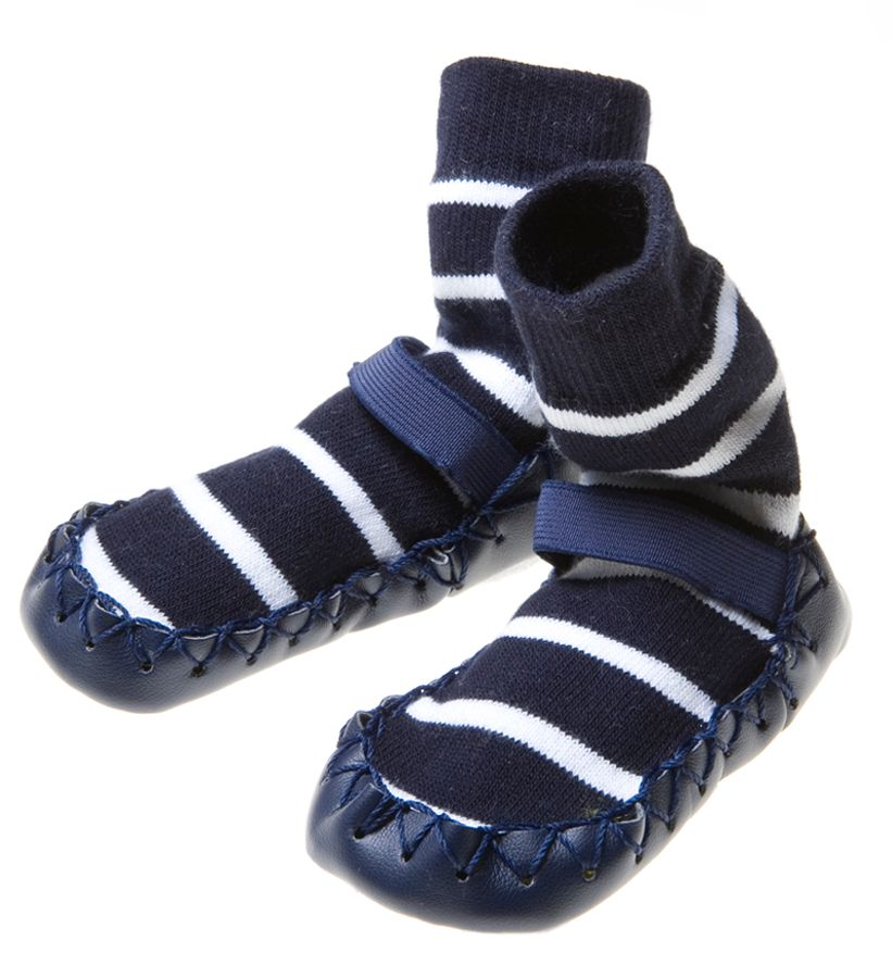 Polarn O. Pyret Kids Striped LeatherSole Moccasins Navy