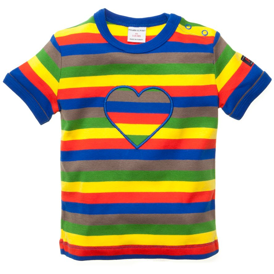 Polarn O. Pyret Rainbow heart applique T-Shirt Yellow product image