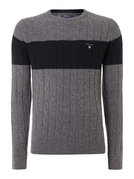 Gant Striped lambswool cable knit lambswool jumper