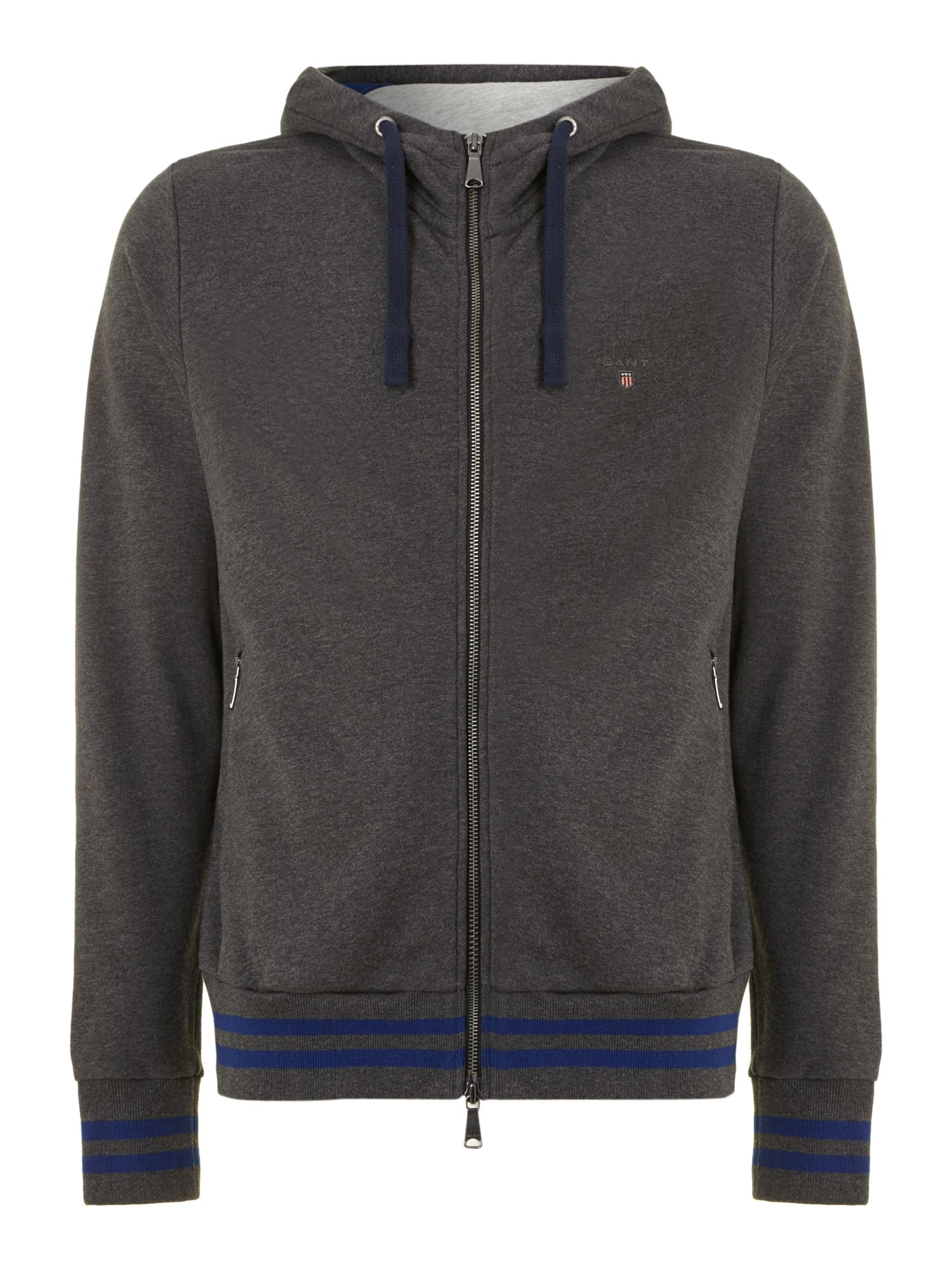 NY tipped rib full zip hoody