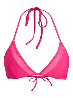 Seasonal solid triangle bikini top