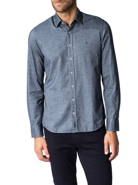 Marc O'Polo Long-sleeve shirt in cosy two-tone twill