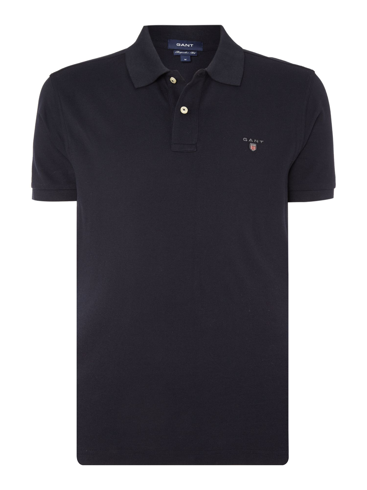 Men's Gant Pique Short Sleeve Polo Shirt, Blue