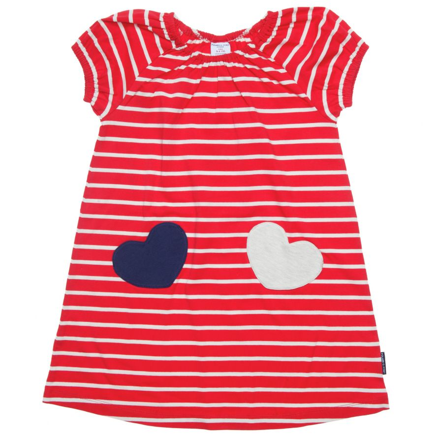 Girl`s stripe & heart dress