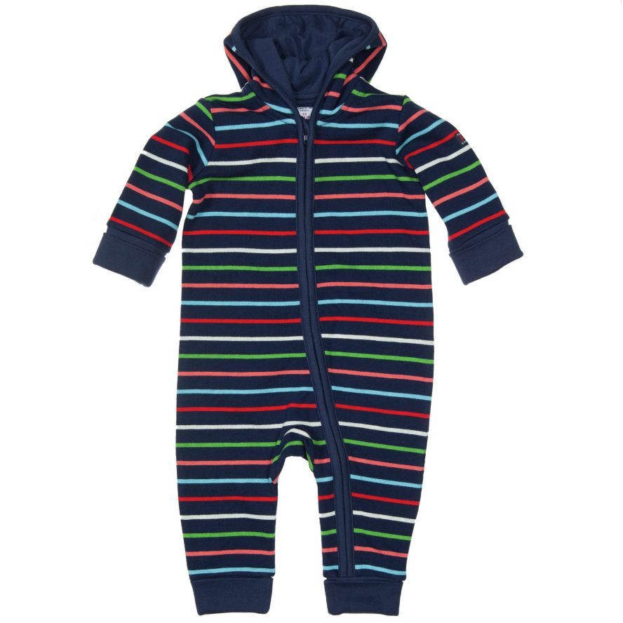 Baby stripe hooded all in one