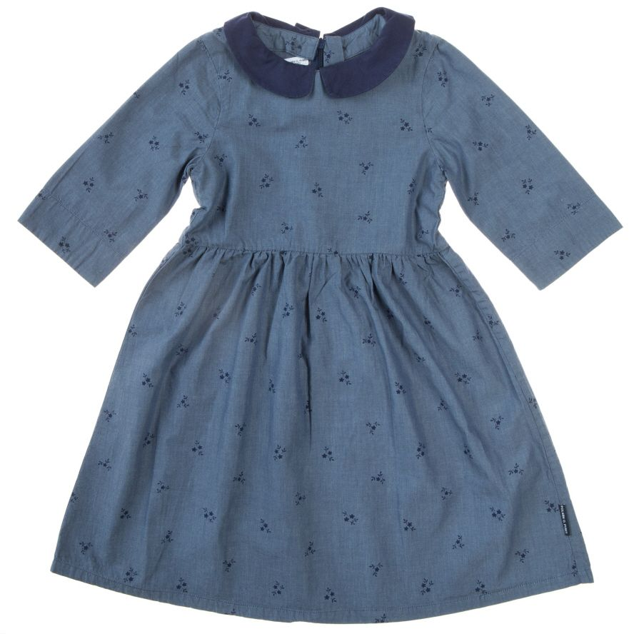 Baby girl`s contrast collar dress